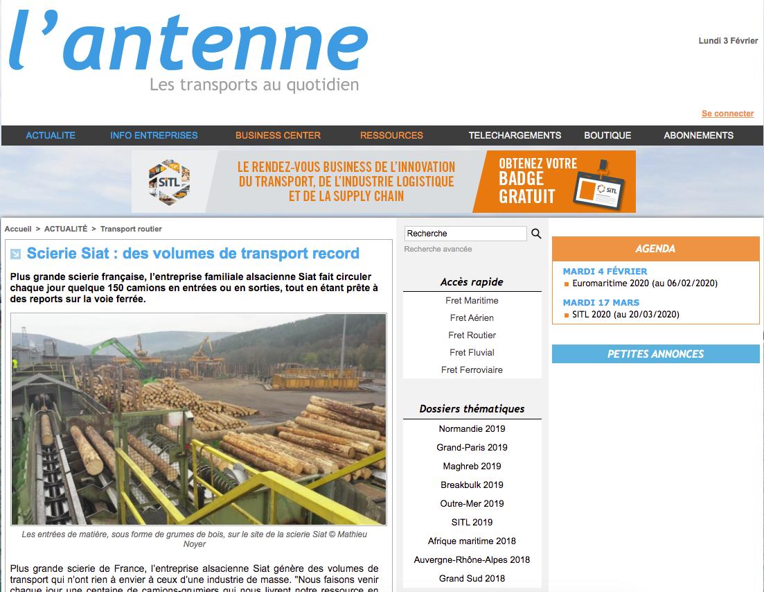 L'antenne : Scierie Siat, des volumes de trasnport record